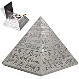 AVESON Retro Pyramid Cigar Ashtray with Lid Ash Retro Carving Tray Holder Storage Box Table Home Bar Decor for Men Smokers, Tin Color