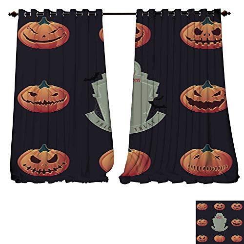 DESPKON-HOME Waterproof Window Curtain Halloween Pumpkin Carving and Creepy Tombstone Vector Tie Up Window Drapes Living Room -W72 x -