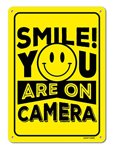 Smile Youre on Camera Video Surveillance Sign 14x10 Rust Free 0.40mm Aluminum