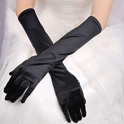 WensLTD Womens Satin Long Gloves Opera Wedding Bridal Evening Party Prom Costume Gloves (Black) -