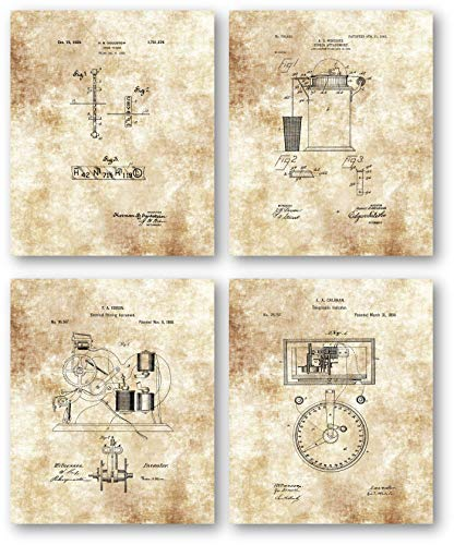 (Original Stockbroker Drawings Artwork - Set of 4 8 x 10 Unframed Patent Prints - Great Gift for Financial Managers and Bankers - Vintage Banking Office Decor)