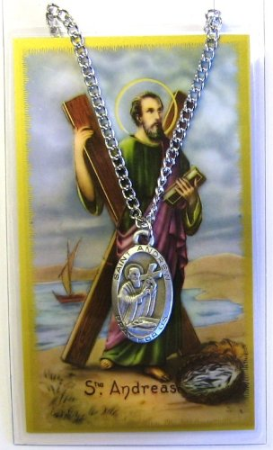 Saint Andrew 1-inch Pewter Medal Pendant Necklace with Holy Prayer Card
