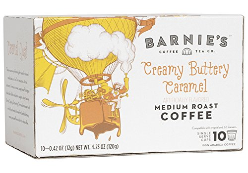 Barnies Creamy Buttery Caramel Single Serve Coffee | Coffee Pods Compatible With Keurig Brewers | Caramel Flavored Coffee | Sugar Free, Nut Free, Fat Free, Gluten Free | Medium Roast | 10 Count