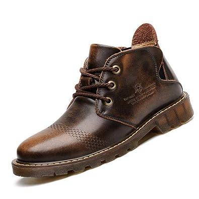 Botas De Cuero para Hombre Botas Martin Ocasionales Botines con Cordones con Piel para OtoñO/Invierno En MarróN/Rojo: Amazon.es: Zapatos y complementos