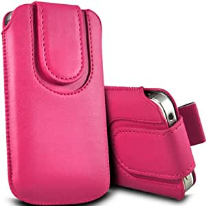 ONX3 Acer Liquid E2 Leather Slip cuerda protectora magnética de la PU Pull In Pouch Case Quick Release (Hot Pink)