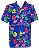 Hawaiian Shirts Mens Flamingo Leaf Print Beach Aloha Party Blue M