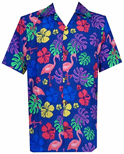 Hawaiian Shirt 37 Mens, Flamingo Leaf Print Beach Aloha Party (Color: Blue/Size: 2XL)
