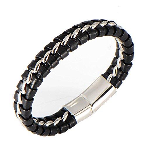 ddec8db93862 De alta calidad LAMUCH Brazalete de cuero trenzado de acero de titanio para  hombres