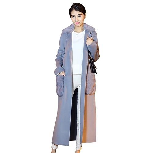 Mujeres de invierno Slim bolsillos largos solapa abrigo Outwear(7005)