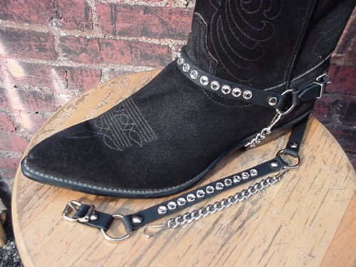 Western Boots Boot Chains Ladies Black Leather with Crystal Rhinestones, Silver Hardware