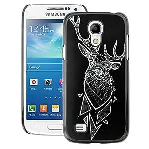 A-type Arte & diseño plástico duro Fundas Cover Cubre Hard Case Cover para Samsung Galaxy S4 Mini i9190 (NOT S4) (Deer Polygon Art Black Abstract Art)