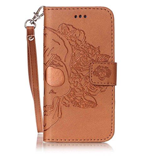 Nouveau Style Pressé En Relief Fleurs Windchime Motif Rétro Folio Flip Stand Wallet Case Avec Une Dragonne Pour Apple IPhone 6S Plus ( Color : 9 )
