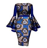 Tootless Womens Flare Sleeve Dashiki African Print Cotton Fit Cocktail Gowns 13 XL