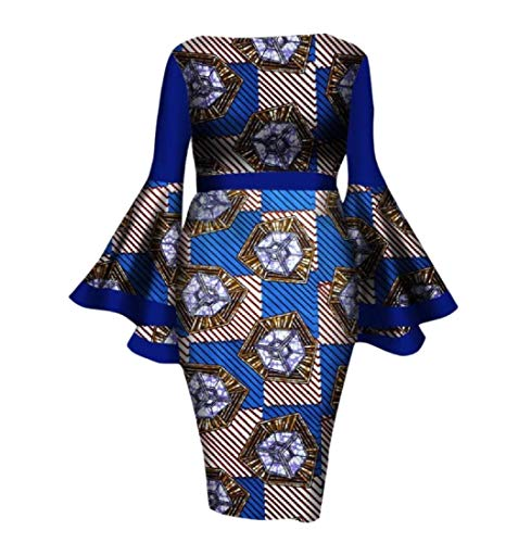 Tootless Womens Flare Sleeve Dashiki African Print Cotton Fit Cocktail Gowns 13 XL by Tootless-Women