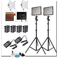 Aputure 2x AL-528C CRI95+ Bi-Color LED Video Light Kit +2x Light Stand +4 Battery Pack , Rapid Charger , Two Easy Frost Diffuser Kit for Amaran