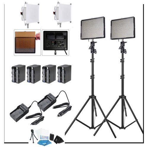 Aputure 2x HR672W CRI95+ DayLight LED Video Light Kit With Remote +2x Light Stand +4 Battery Pack , Rapid Charger , Two Easy Frost Diffuser Kit for Amaran by Aputure