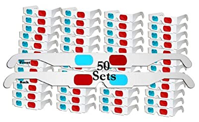 50 Pairs - FLAT- 3D Glasses Red and Cyan WHITE Frame Anaglyph Cardboard