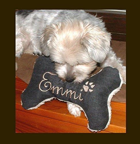 LunaChild Osso cane giocattolo cane Quitscher nero taglia XS S M L o XL Cuscino personalizzato per nome cane
