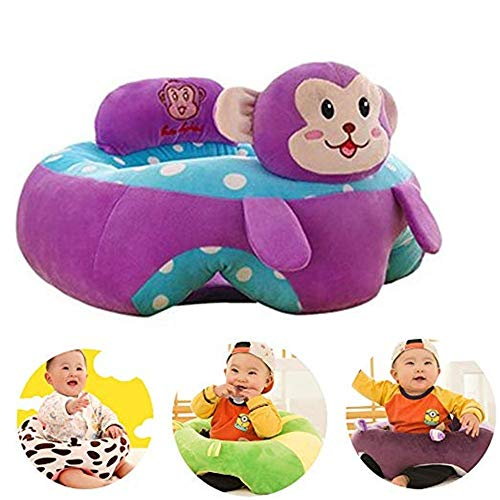 Learning To Sit On The Sofa Baby Support Seat Sofa Plush Chair Colorful Infant Learning Sitting Seat Chair Portable Feeding Chair Pillow Cartoon Monkey Shaped Children Plush Toy Purple Baby Seat