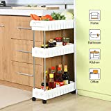 kitchen storage units 3 Tier Slim Storage Cart Mobile Shelving Unit Slide Out Storage Tower for Kitchen Bathroom Laundry Room Narrow Places(White)