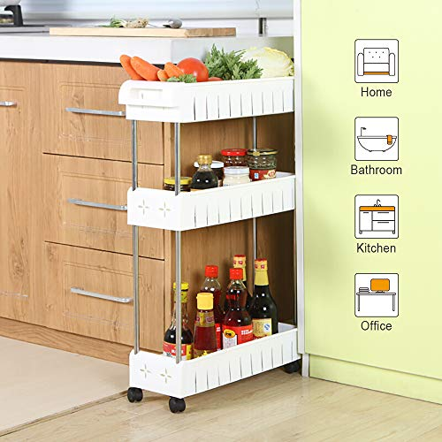 Cart Mobile Shelving Unit Slide Out Storage Tower for Kitchen Bathroom Laundry Room Narrow Places(White) ()