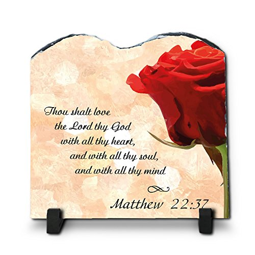 Thou Shalt Love The Lord Thy God With All Thy Heart Matthew 22:37 (7.8X7.8, KJV) | Superior Religious Inspirational Home Décor By Inspiragifts Slate | Christian Home Plaque Stone Gift