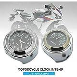 "7/8"" Motorcycle Handlebar Mount Dial Clock Watch Temp Thermometer Gauge Universal Waterproof black"