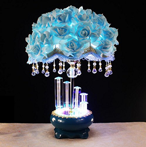 K9 Crystal Marry Practical Roses lamp Flower taple lamp (Blue) ()