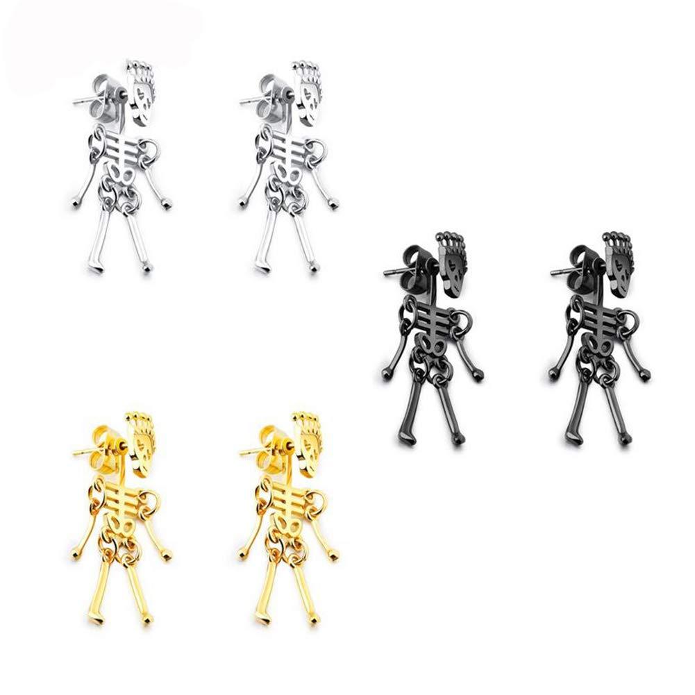 Men's Punk Hypoallergenic Gothic Titanium steel Skull Skeleton Choker Statement Earrings Jewelry