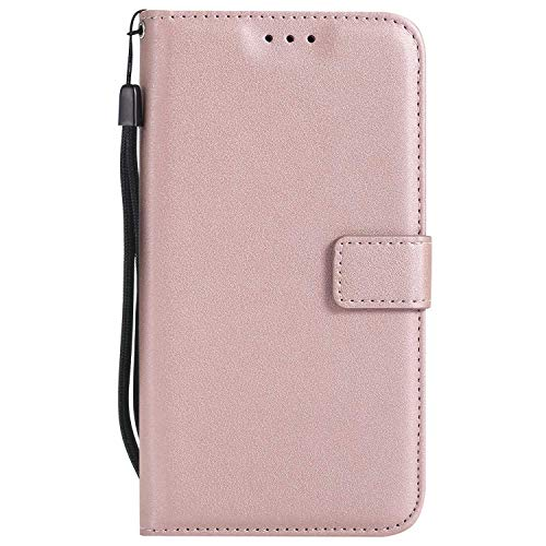 UNEXTATI Moto C Case, Leather Magnetic Closure Flip Wallet Case with Card Slot and Wrist Strap, Slim Full Body Protective Case (Pink #5)