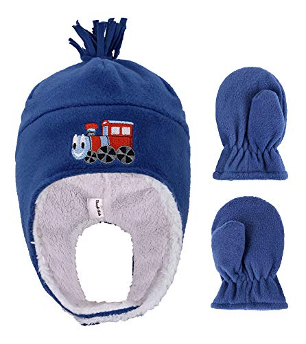 YoungLove Boys Fleece with Embroidered Winter Set Hat and Mittens,Train Royal,2-4 - Childrens Embroidered Fleece