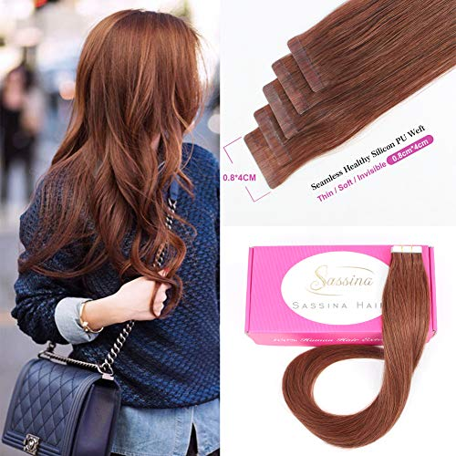(Sassina Tape in Skin Wefts Human Hair Extension Remy Hair PU Dark Vibrant/Auburn Cooper Red Brown Tape on Hair Extension 20Pcs 50g/set (33# 20
