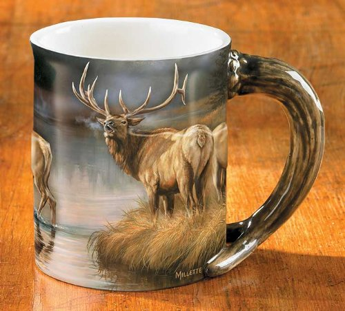 Wild Wings Autumn Mist Elk Sculpted Mug, Assorted ()