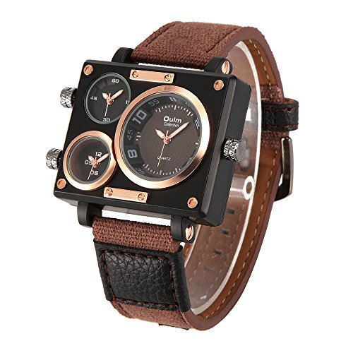 Oulm 3595 Mens Watch Analog Coffee Leather Strap 3 Sub Dials