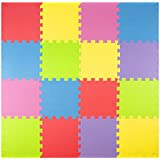 Foam Play Mats (16 Tiles + Borders) Kids Puzzle Playmat Tiles | Non-Toxic Interlocking Floor Children & Baby Room Soft EVA Thick Color Flooring Square Rubber Babies Toddler Infant Exercise Area Carpet