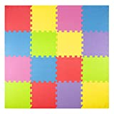 Toys : Foam Play Mats (16 Tiles + Borders) Kids Puzzle Playmat Tiles | Non-Toxic Interlocking Floor Children & Baby Room Soft EVA Thick Color Flooring Square Rubber Babies Toddler Infant Exercise Area Carpet