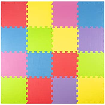 Foam Play Mats (16 Tiles + Borders) Kids Puzzle Playmat Tiles | Non Toxic  Interlocking Floor Children U0026 Baby Room Soft EVA Thick Color Flooring  Square ...