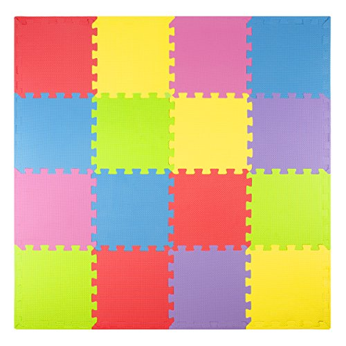 Foam Play Mats (16 Tiles + Borders) Safe Kids Puzzle Playmat | Non-Toxic Interlocking Floor Children & Baby Room Soft EVA Thick Color Flooring Square Babies Toddler Infant Exercise Area Carpet A Baby Infant Playmat