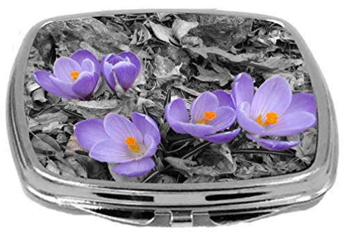 Rikki Knight Compact Mirror, Purple Crocus Flowers on Grey Background, 3 Ounce
