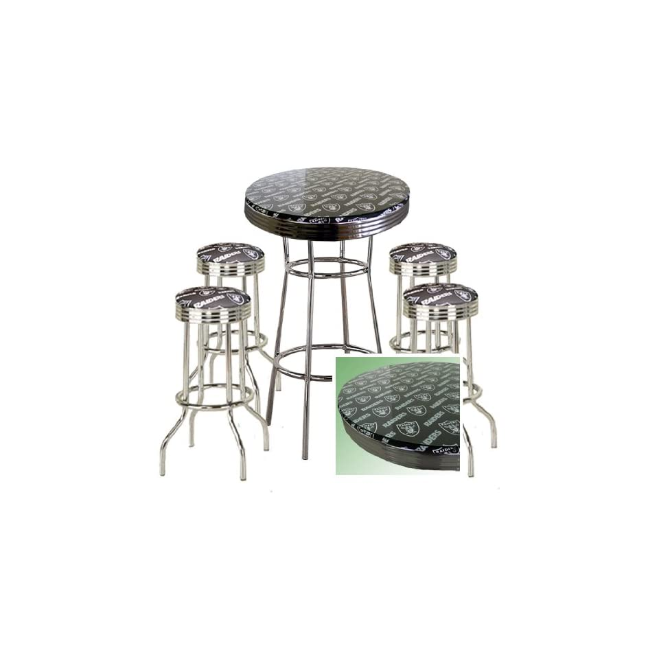 OAKLAND RAIDERS FOOTBALL Glass Top Chrome Bar Pub Table Set With 4 Swivel Bar Stools   Home Bars