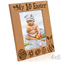 Kate Posh 2018 My First (1st) Easter Picture Frame - Engraved Natural Wood Photo Frame - Easter Decorations, Baby Easter Gifts, First Easter Gifts, Easter eggs and Bunny decorations (4x6-Vertical)