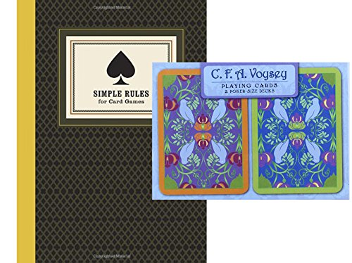 Mineral Series Art (Art Nouveau C. F. A. Voysey Playing Cards (2 Poker-Size Decks) with book Simple Rules for Card Games by Don Rauf Bundle)