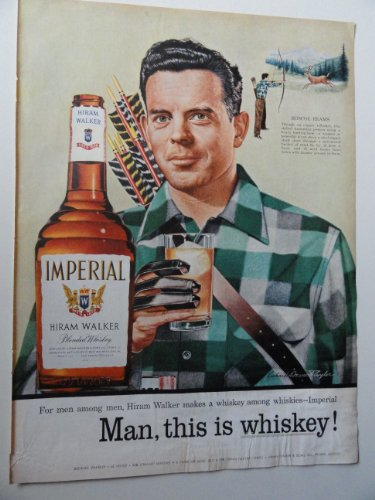 Imperial Hiram Walker Whiskey, 1955 Color Illustration, Print Ad.(deer hunter) Original Vintage 1955 Life Magazine Print (Hiram Walker Whiskey)