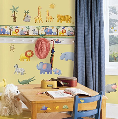 Zoo Wallpaper Border - Jungle Animals 15' Wall Sticker Border Kids Nursery Zoo Wallpaper Room Decor