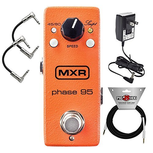 MXR M290 Mini Phase 95 Phaser Effects Pedal for Electric Guitar includes (Power Adapter) with 2 Path Cable and Instrument Cable by MXR