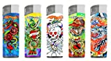 Ed Hardy LED Lighters Cigarette and Cigar Lighters Refillable Butane Gas Christian Audigier Tattoo Artist Qty5 (Raving 125)