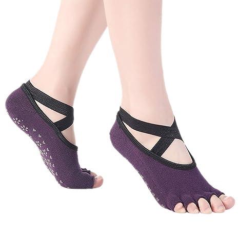 CAOLATOR.Calcetines de Yoga o Pilates Antideslizante Deporte Mujer Colchoneta Deporte Accesorios Calcet/ín para Ballet Barra Fitness Danza-Azul