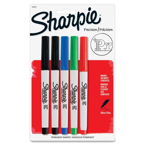 (Sharpie 37675PP Permanent Markers Ultra Fine Point Assorted Colors 5/Set)