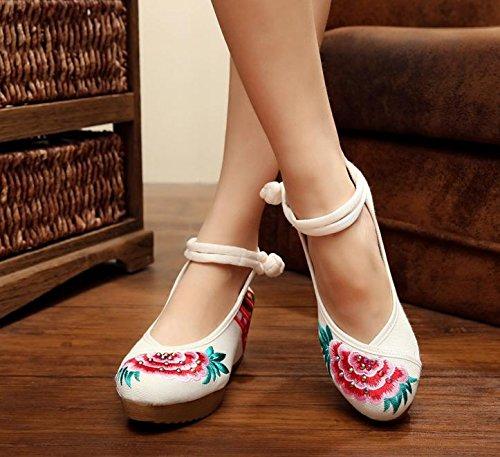white Zapatos estilo ¨¦tnico aumentados lenguado amp;QING femeninos LTQ 41 new del white c¨®modo zapatos bordados lino tend¨®n ocasional manera wEUn8qF