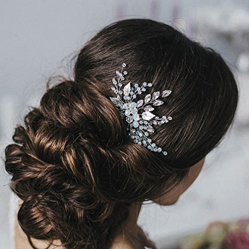 Venusvi Wedding Rhinestone Hair Comb Hair Accessories for Bridal(Silver)